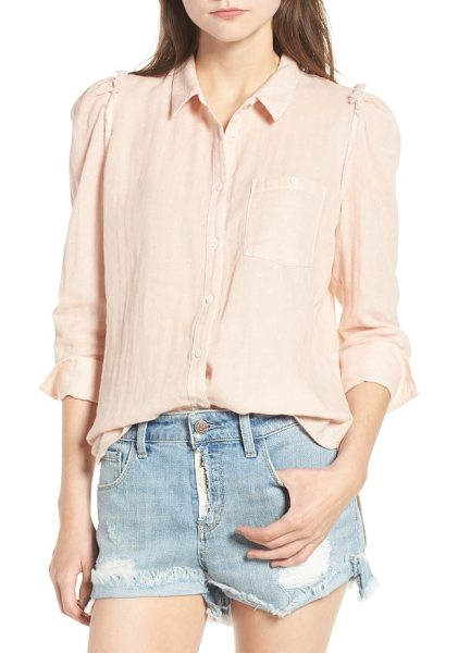 Treasure & Bond classic swiss dot shirt in pink hero white dot - Subtle ruffles and three-quarter sleeves play with the...