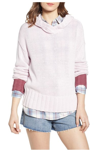 Treasure & Bond contrast cuff hooded sweater in pink - A slouchy hood will keep your head warm when the sea...