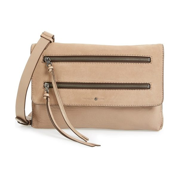 TREASURE & BOND Double zip convertible crossbody bag - Bold zip detailing lends edgy style to a pebbled leather...
