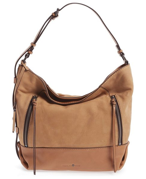 TREASURE & BOND double zip leather hobo bag in tan - A washed leather finish extends the well-worn appeal of...