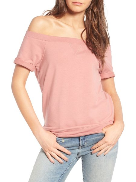 Treasure & Bond off the shoulder sweatshirt in pink ash - This supersoft cotton-blend pullover draws inspiration...