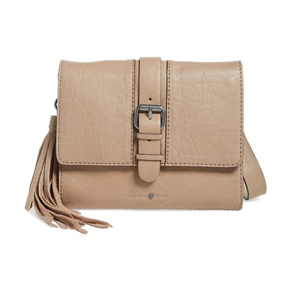 Treasure & Bond Small leather messenger bag in tan portabella - A tassel charm adds stylish swing to a classic messenger...