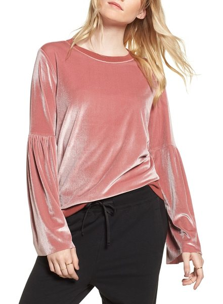 Treasure & Bond velour sweatshirt in pink deco - The sporty classic gets a luxe makeover with lustrous...