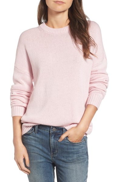 Treasure & Bond x something navy crewneck sweater in pink parfait - Knit from warm wool blended with a hint of cashmere,...