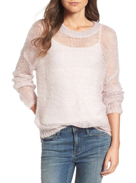 Treasure & Bond x something navy sheer metallic sweater in pink parfait combo - Take an airy approach to layering with this sheer...