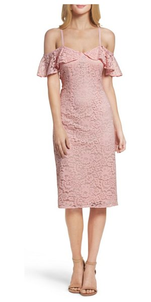 TRINA TRINA TURK mysterious off the shoulder dress in pink champagne - A shoulder-baring neckline and fluttering ruffles update...