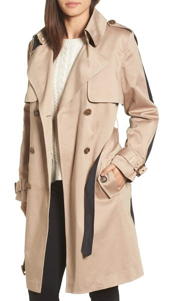 Trina Turk allison two-tone trench coat in khaki/ black - Refresh your essential trench with this two-faced beauty...