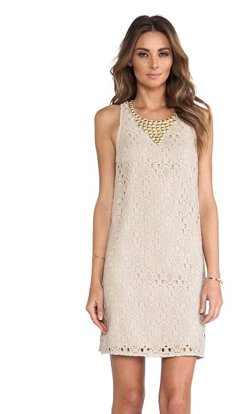 Trina Turk Avalon dress in taupe - Cotton blend. Fully lined. Metallic gold beaded...