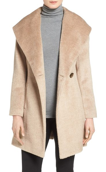 Trina Turk petite   'bonnie' shawl collar skirted coat in fawn - An infusion of plush alpaca lends sumptuous softness to...