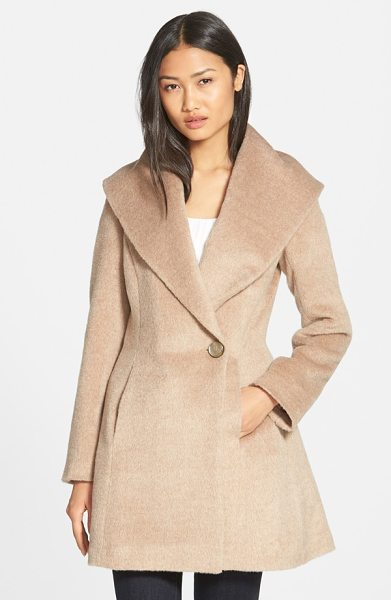 TRINA TURK bonnie shawl collar skirted coat in fawn - An infusion of plush alpaca lends sumptuous softness to...