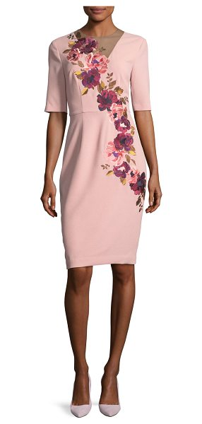 Trina Turk Floral-Embroidered 3/4-Sleeve Sheath Dress in blush - Trina Turk crepe dress with asymmetric floral...
