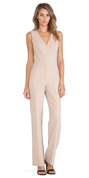 "Trina Turk Gianetta jumpsuit in tan - Self: 63"""" poly 27% viscose 7% cotton 3% elastaneLining:..."