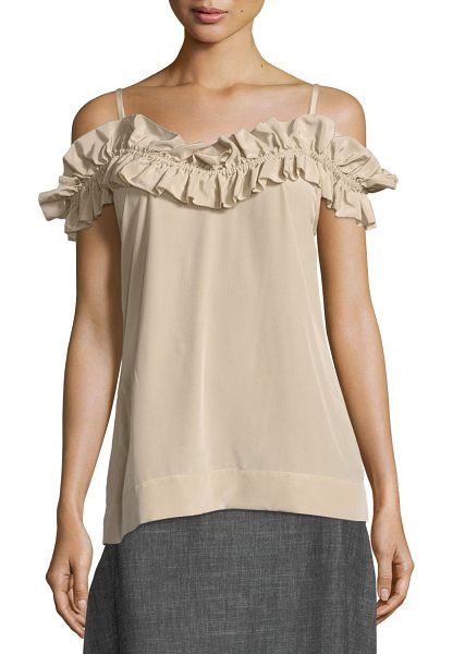 Trina Turk Ruffled Cold-Shoulder Tank Top in flawless beige - Trina Turk sateen blouse. Ruffled, off-the-shoulder...
