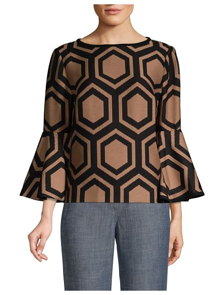 Trina Turk splendid bell-sleeve top in camel black - From The Casa Mexico Collection. Bold straight-fit top...