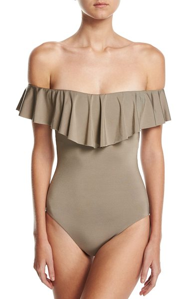 "Trina Turk Studio Solids Off-the-Shoulder One-Piece Swimsuit in beige - Trina Turk one-piece swim suit from the ""Studio Solids""..."