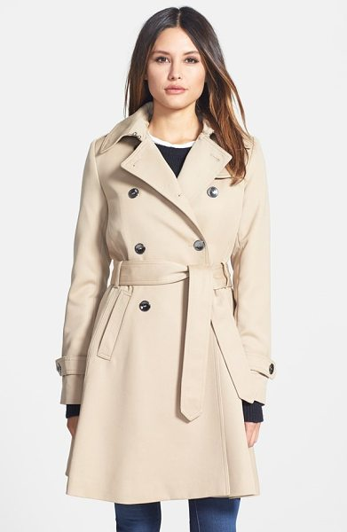 Trina Turk gwyneth flared wool gabardine trench coat in khaki - A polished wool-gabardine trench gets practicality from...
