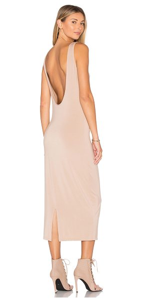 TROIS Klum Midi Dress in beige - 90% modal 10% spandex. Hand wash cold. Unlined. Scoop...