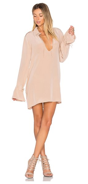 TROIS Shalom Dress in beige - 90% silk 10% spandex. Dry clean only. Unlined. Front tie...