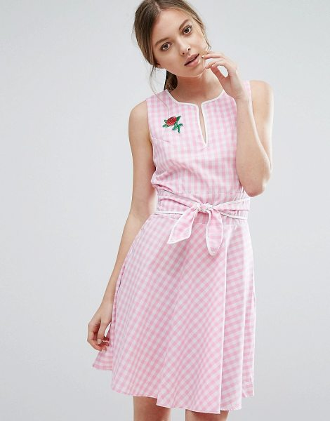 Trollied Dolly Gingham Skater Dress With Tie Waist And Rose Badge in pink