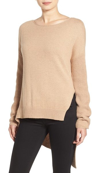 Trouve asymmetrical hem sweater in tan heather - Grey skies and plummeting temps call for slouchy comfort...
