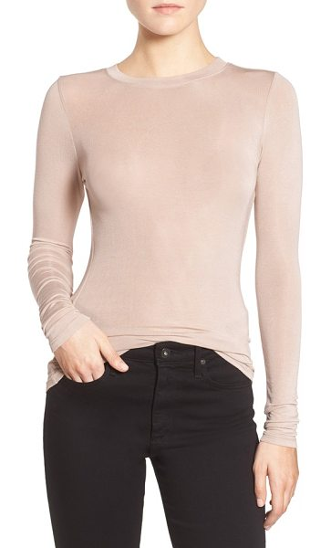 Trouve layering tee in tan memoir - A stretchy modal blend lends definition to a semi-sheer...