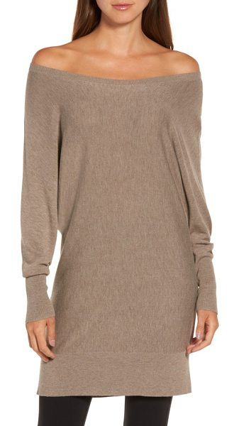 Trouve off the shoulder sweater tunic in tan portobello heather - This cashmere-kissed tunic offers easy elegance with its...