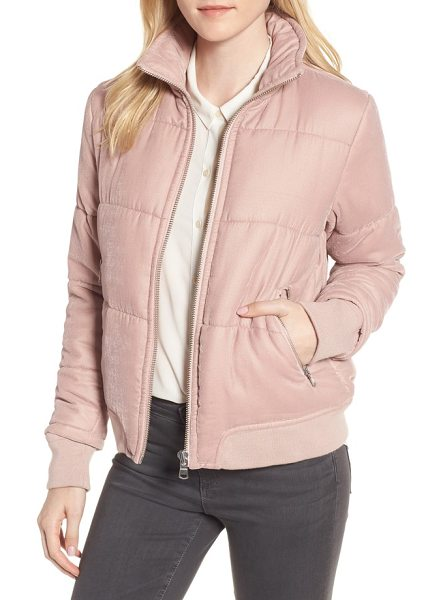 Trouve quilted velvet jacket in pink adobe - Revel in throwback '80s style with this quilted velvet...