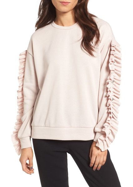 TROUVE ruffle & stud sweatshirt - Add a fashion-forward twist to your off-duty wardrobe...