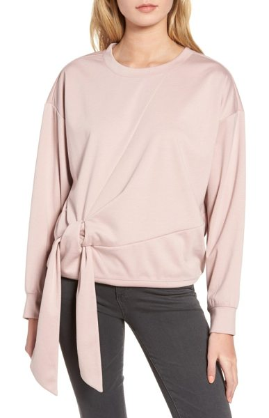 Trouve tie front sweatshirt in pink adobe - Finished with an elegantly gathered front tie, this...