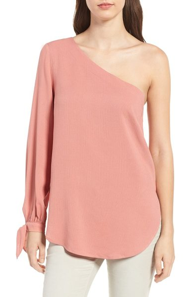 Trouve tie sleeve one-shoulder top in pink desert - Chic one-shoulder styling creates a saucy look for a...