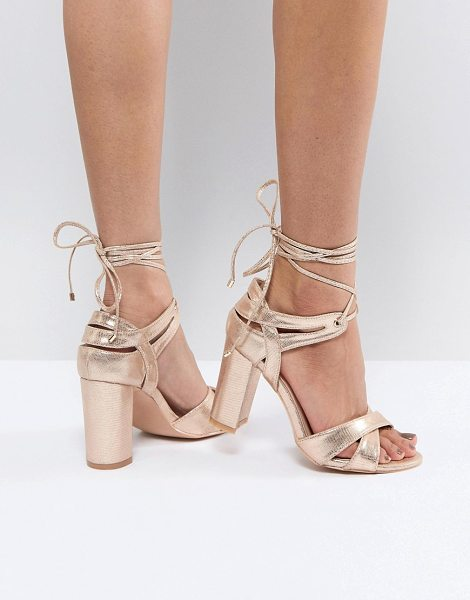 True Decadence block heel ankle tie heeled sandals in rosegold