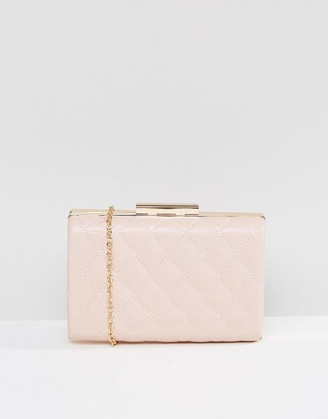 """True Decadence Blush Quilted Box Clutch Bag in pink - """"""""Clutch bag by True Decadence, Faux-leather outer,..."""