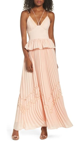True Decadence strappy maxi dress in nude - Lacy insets add a trend-right, boho touch to a flowy...