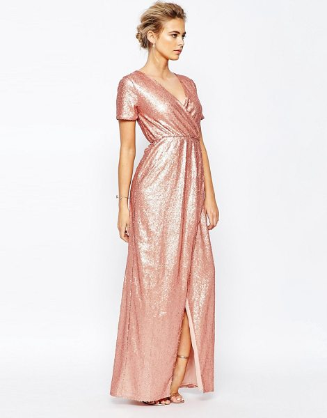 True Decadence Cross Front Plunge Sequin Maxi Dress in pink - Maxi dress by True Decadence, Sequin embellished fabric,...