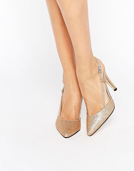"True Decadence Cut Out Sling Heeled Shoes in gold - """"Shoes by True Decadence, Glitter flecked upper,..."
