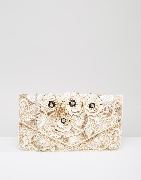 True Decadence Embelished Beaded Clutch Bag in pink - Clutch bag by True Decadence, Bead embellished fabric...