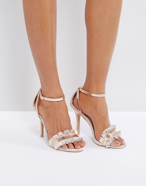 "TRUE DECADENCE Frill Rose Gold Barely There Heeled Sandals - """"Heels by True Decadence, Velvet upper, Metallic..."
