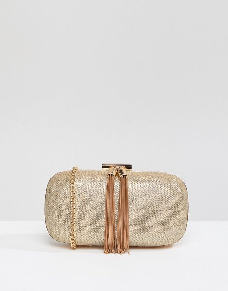 True Decadence Glitter Clutch Bag With Tassel Detail in gold - Clutch bag by True Decadence, Textured glitter outer,...