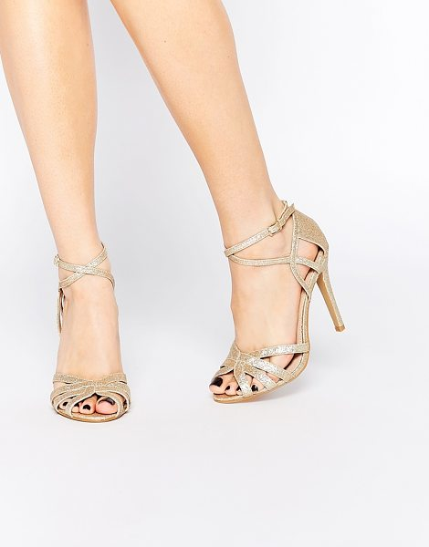 True Decadence Gold Glitter Ankle Strap Heeled Sandals in gold - Heels by True Decadence, Glitter embellished upper, Peep...