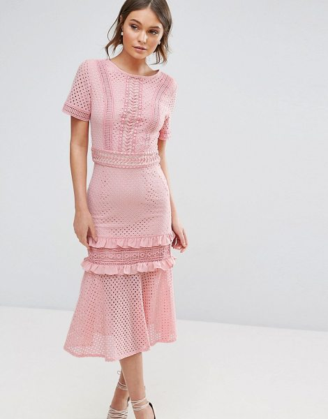 "TRUE DECADENCE Lace Midi Dress with Frill Detail in pink - """"Midi dress by True Decadence, Smooth lace, Mini-length..."