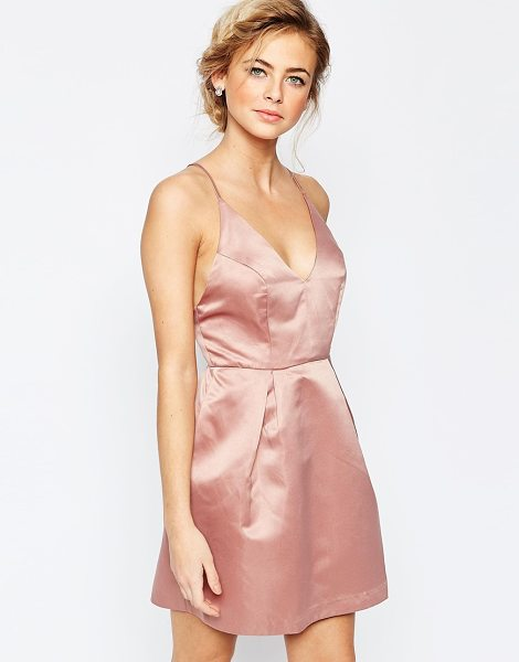 True Decadence Mini Prom Dress With Cami Strap Detail in pink - Party dress by True Decadence, Satin fabric, V-neckline,...
