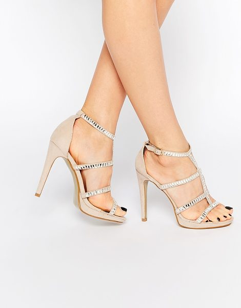 True Decadence Nude Embellished Strap Heeled Sandals in gold - Heels by True Decadence, Suede-look upper, Open toe, Pin...