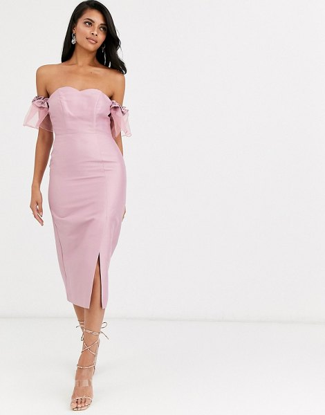 True Decadence off shoulder midi dress with statement organza sleeve in dusky pink in pink