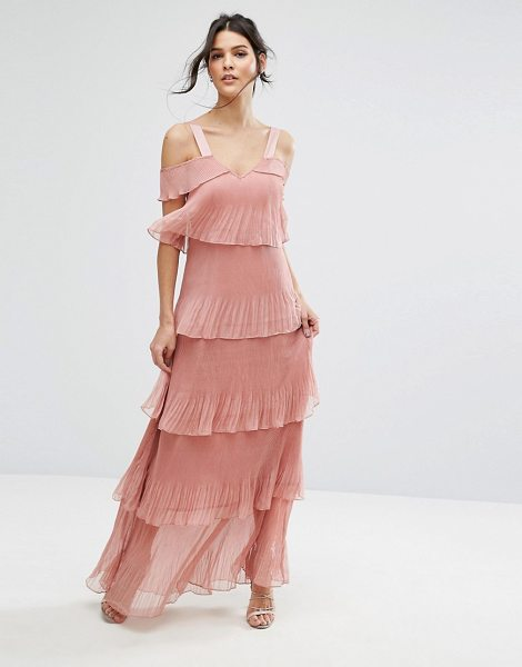 "TRUE DECADENCE Pleated Maxi Dress in Tiers and Cold Shoulder in pink - """"Maxi dress by True Decadence, Lightweight fabric,..."