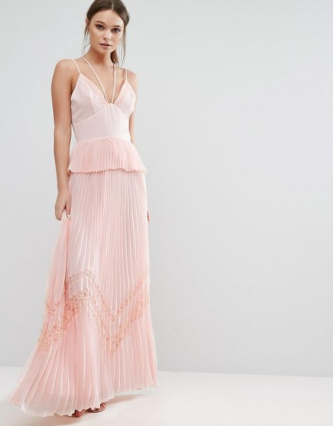 "True Decadence pleated strappy maxi dress in lightpink - """"Maxi dress by True Decadence, Woven fabric, Plunge..."