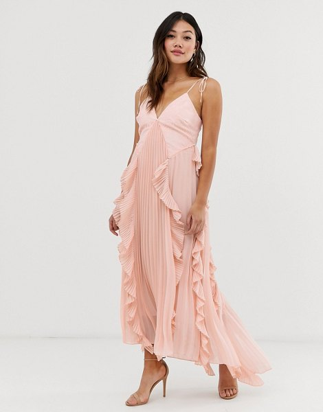 True Decadence premium cami dress with ruffle and pleated skirt in peach in peach