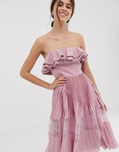 True Decadence premium sleeveless dress with ruffle trim and lace insert pleated skirt in pink in pink