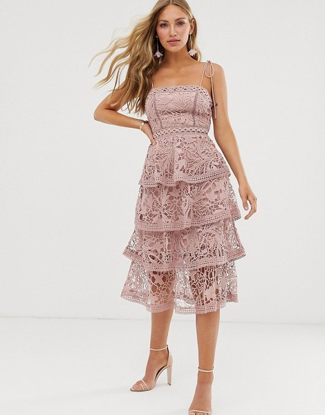 True Decadence premium square neck cami midi dress in all over lace with tiered skirt in soft pink in softnude