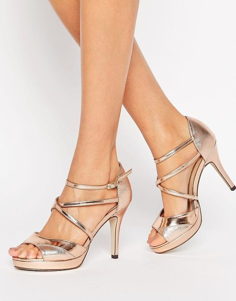 "True Decadence Rose Gold Cross Strap Platform Heeled Sandals in gold - """"Shoes by True Decadence, Faux-leather upper,..."