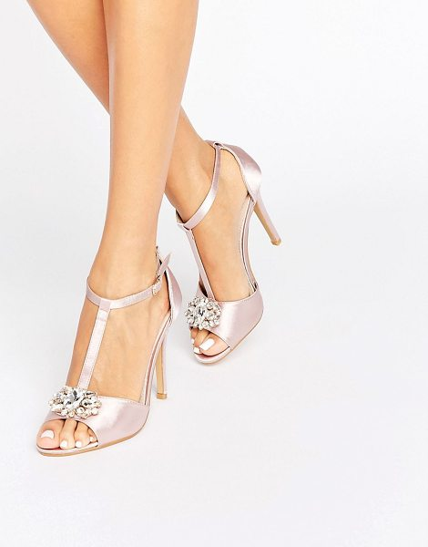 True Decadence T-Bar Light Pink Embellished Heeled Sandals in pink - Sandals by True Decadence, Textile upper, Ankle-strap...